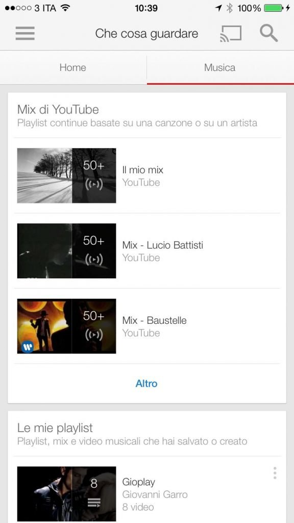 YouTube Musica iOS