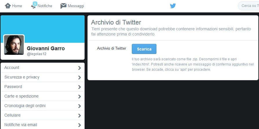 Come fare il backup dei tweet su Twitter-3
