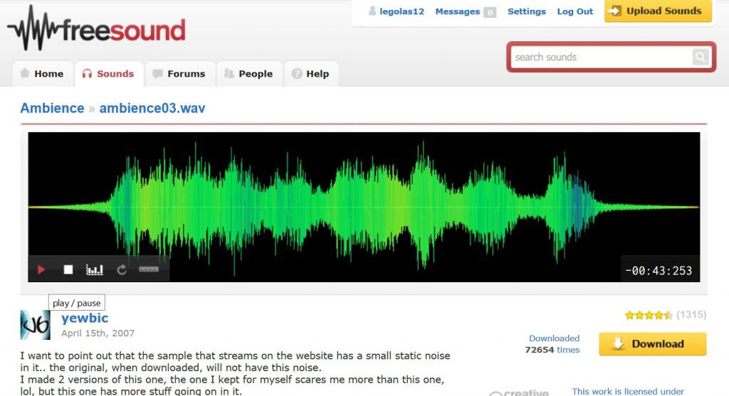 freesound scaricare musica gratis