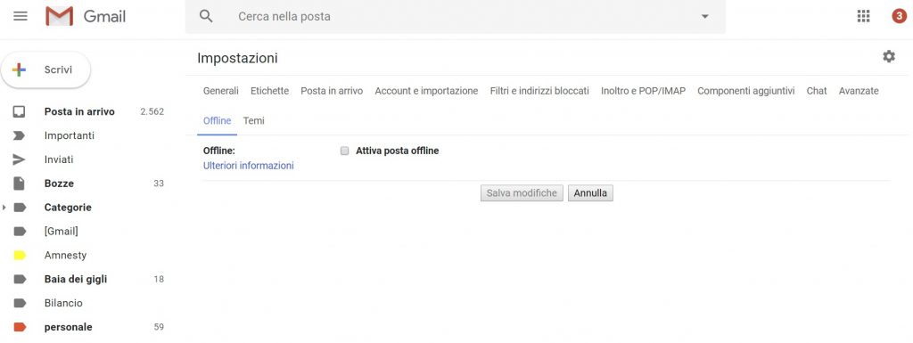 gmail senza Internet