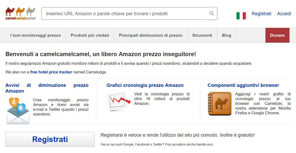 andamento prezzi amazon - camelcamelcamel