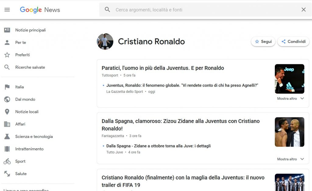 cristiano ronaldo google news