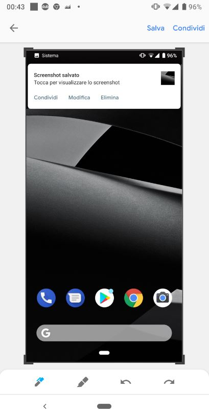 Funzioni di modifica per gli screenshot