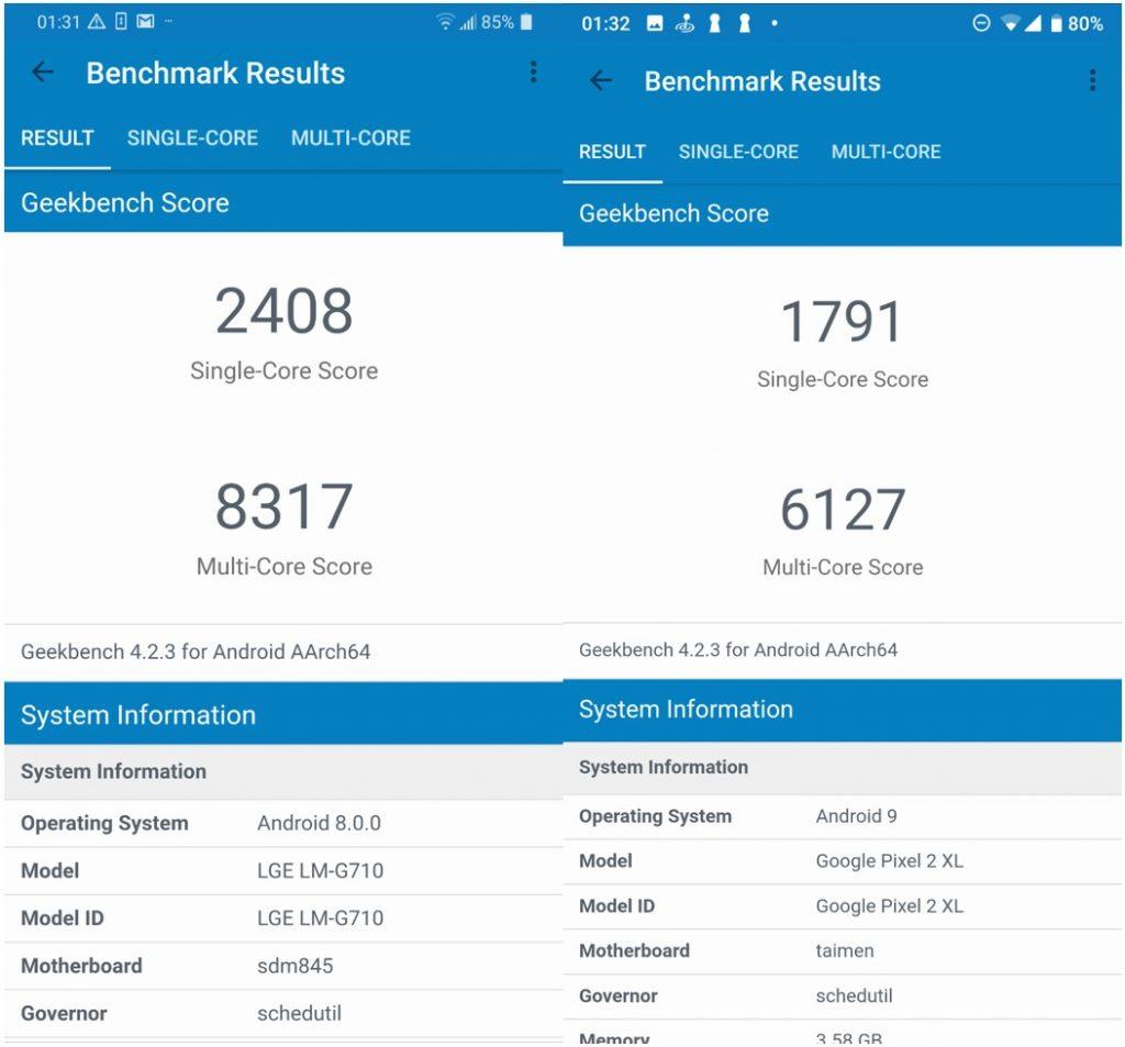 Geekbench_LG_G7_Pixel_2_XL recensione lg g7 thinq