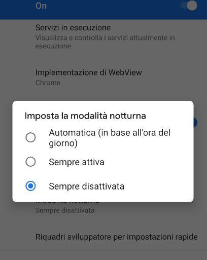 Impostazione manuale per la modalità notturna nelle app