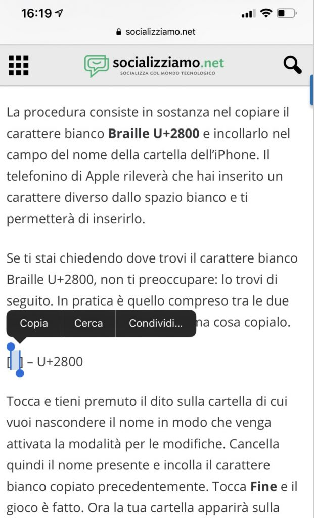 nascondere nome cartelle iphone