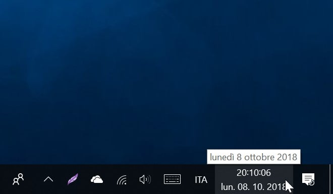 Visualizzare i secondi nell'ora di Windows