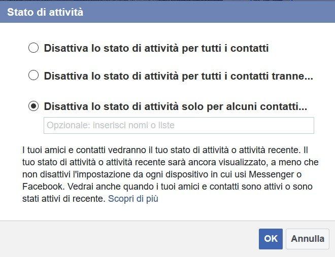Essere invisibile su Facebook Messenger