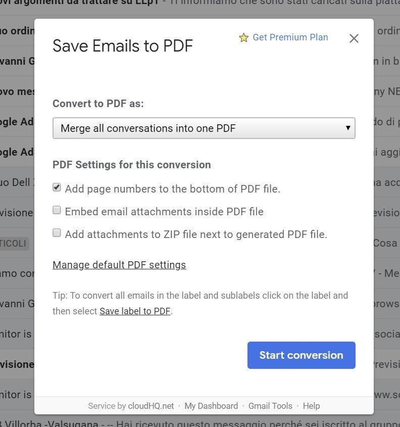 salvare più email in un solo pdf