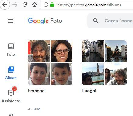 Abilitare il riconoscimento facciale in Google Foto