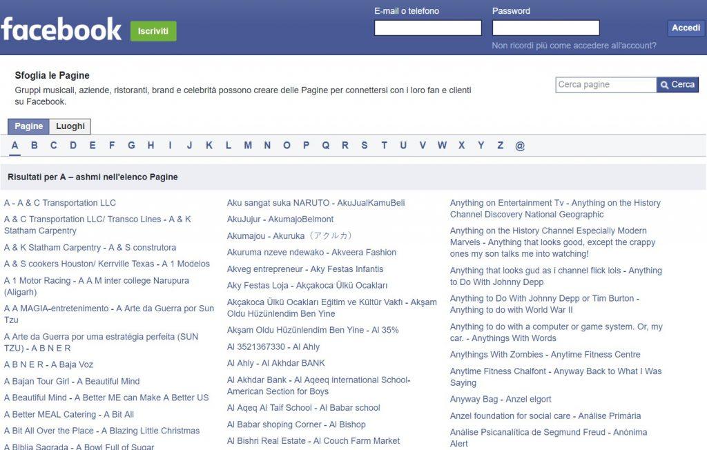 entrare su Facebook senza avere un account
