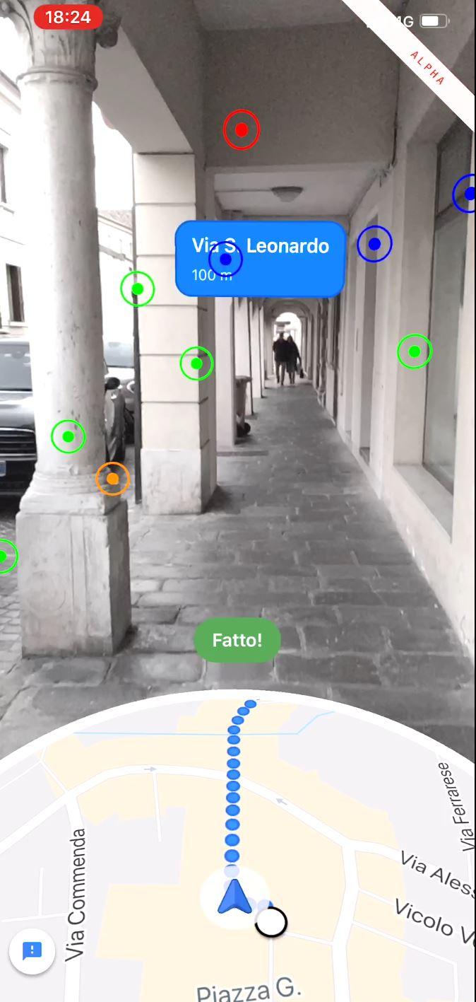 Navigazione a piedi con AR
