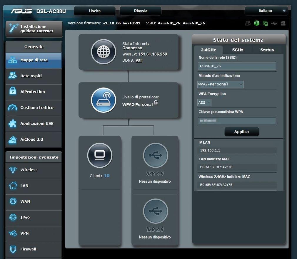 Pannello di gestione Asus DSL-AC88U
