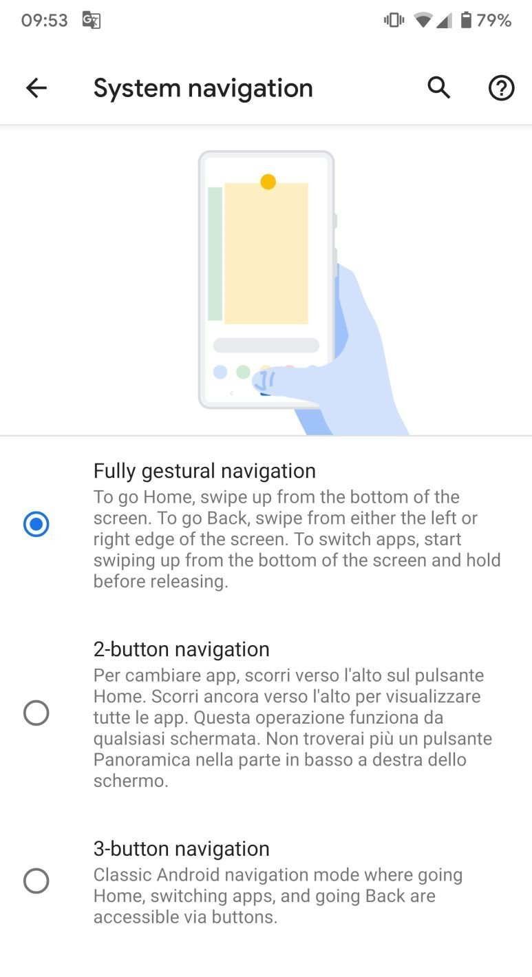 Nuove gesture come iOS Android Q