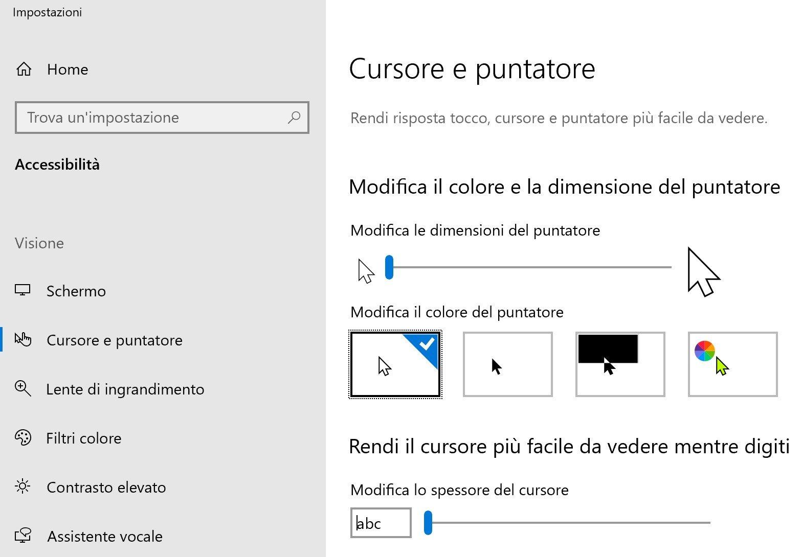 Personalizzare il cursore e il puntatore del mouse