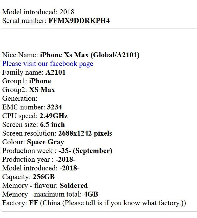 Recuperare caratteristiche tecniche dei prodotti Apple dal numero di serie