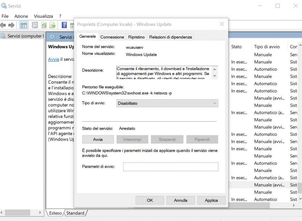 Bloccare gli aggiornamenti di Windows 10 disabilitando il servizio