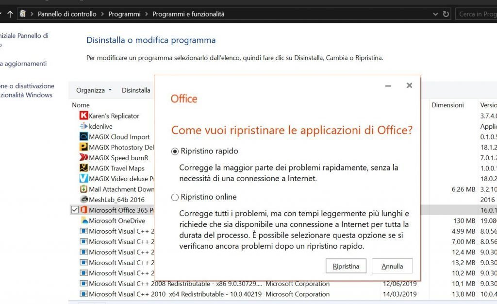 Correggere Outlook ripristinando Office