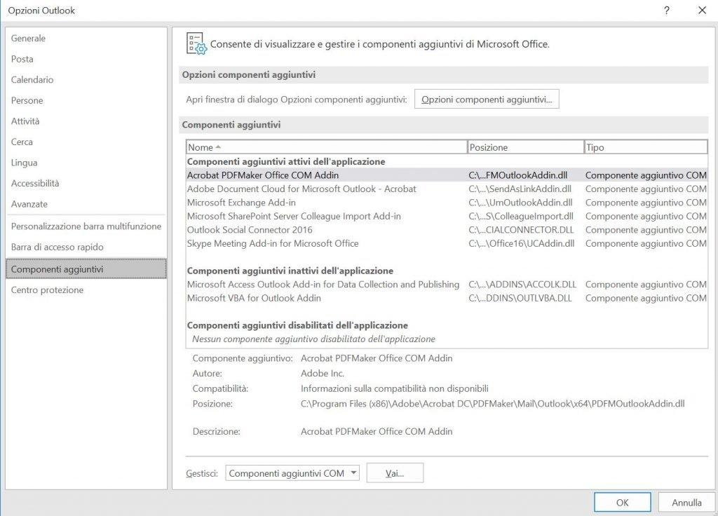 Ripristinare Outlook eliminando i componenti aggiuntivi