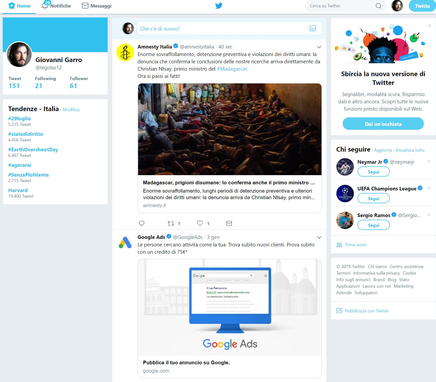 ripristinare la vecchia interfaccia di Twitter