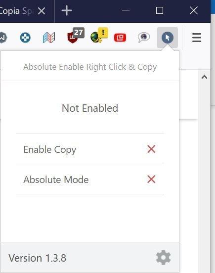 Copiare il testo su un sito protetto con un'estensione