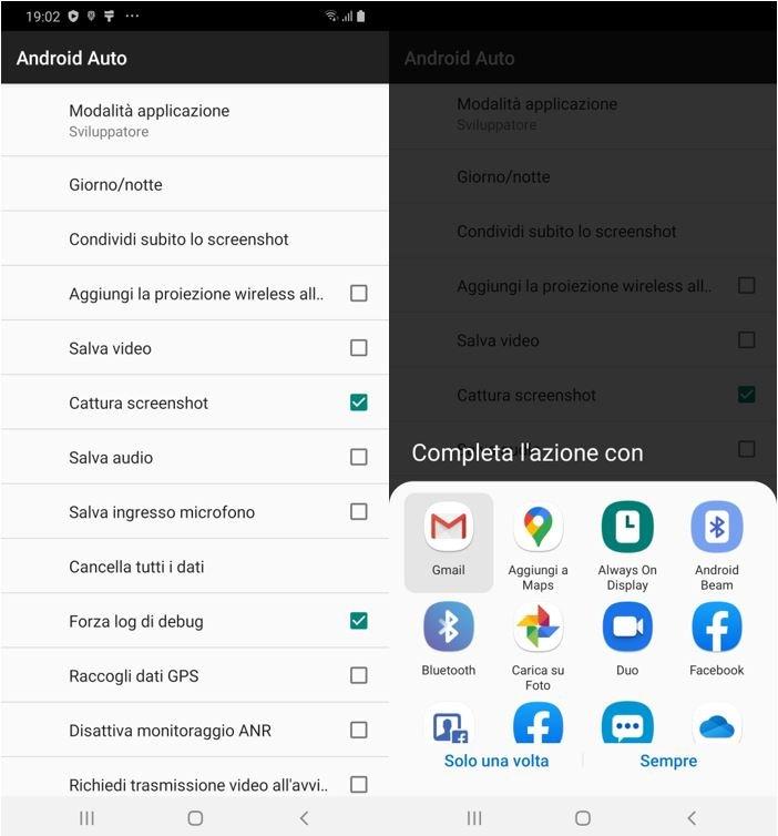 catturare una schermata su Android Auto