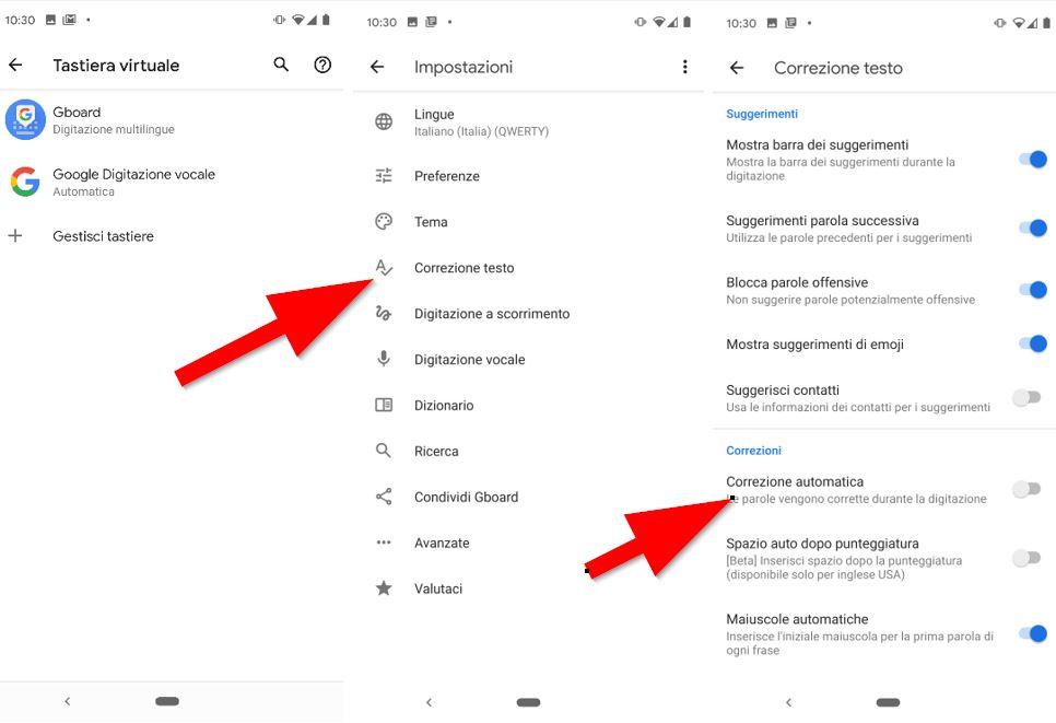 disabilitare correttore ortografico su Android 10