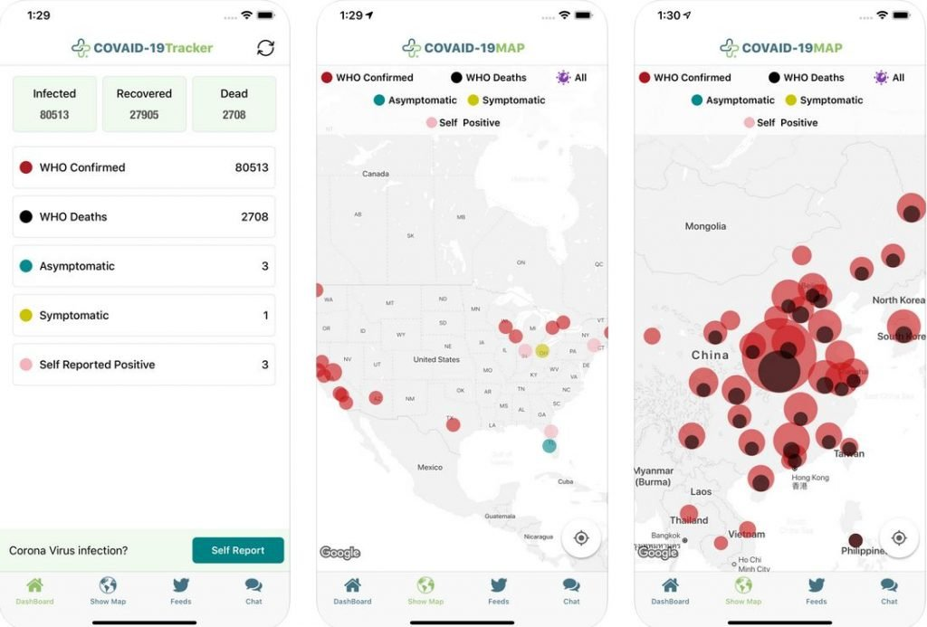 Schermate App sul Coronavirus