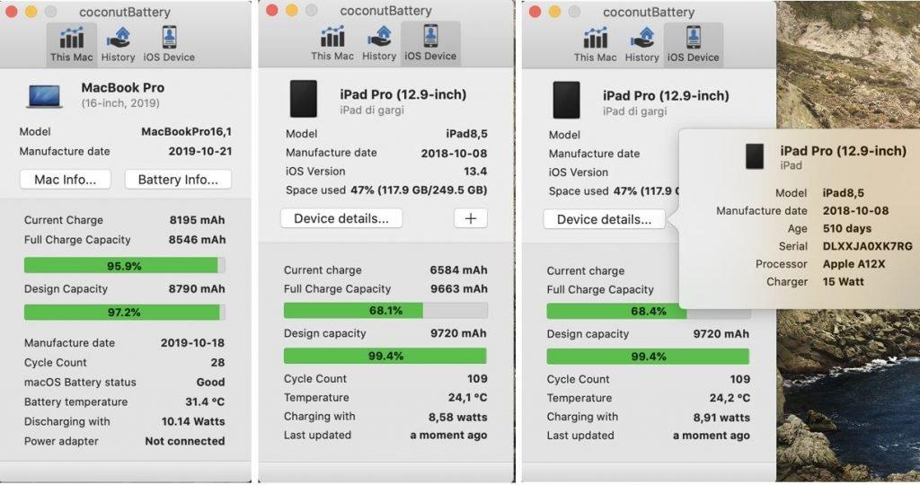 controllare lo stato della batteria dell'iPad su Mac