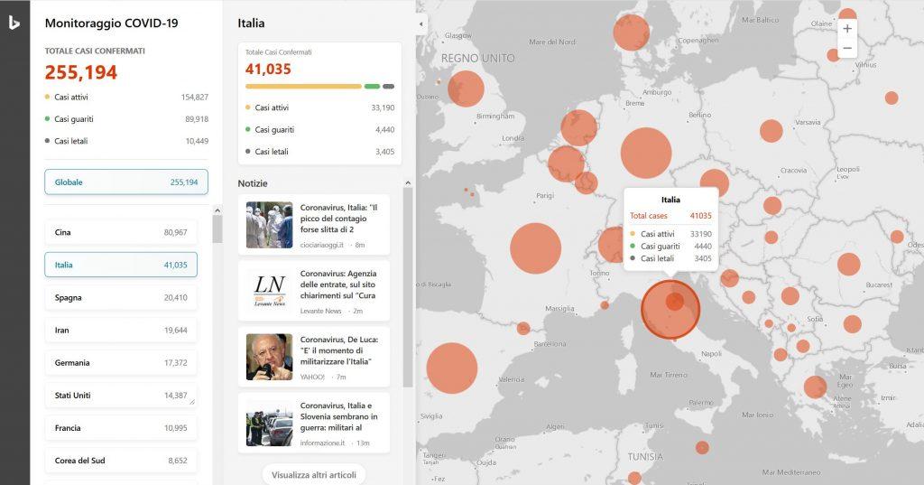Monitoraggio del coronavirus di Bing