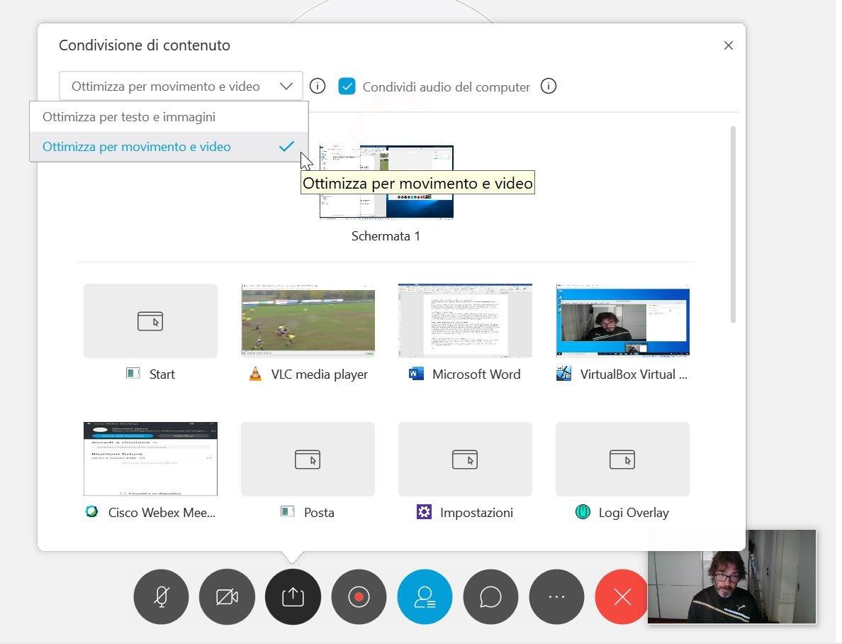 Migliorare la condivisione di un video con Webex