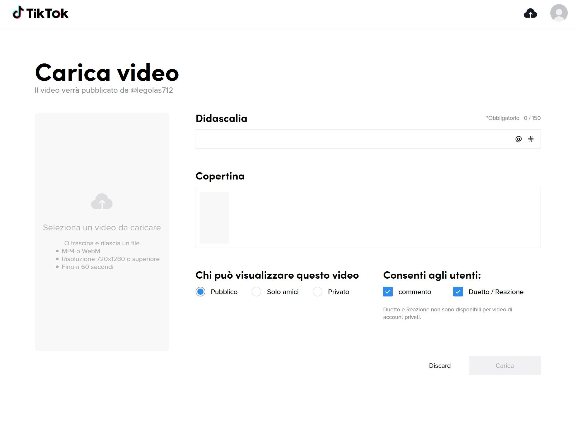 caricare video su tiktok da pc