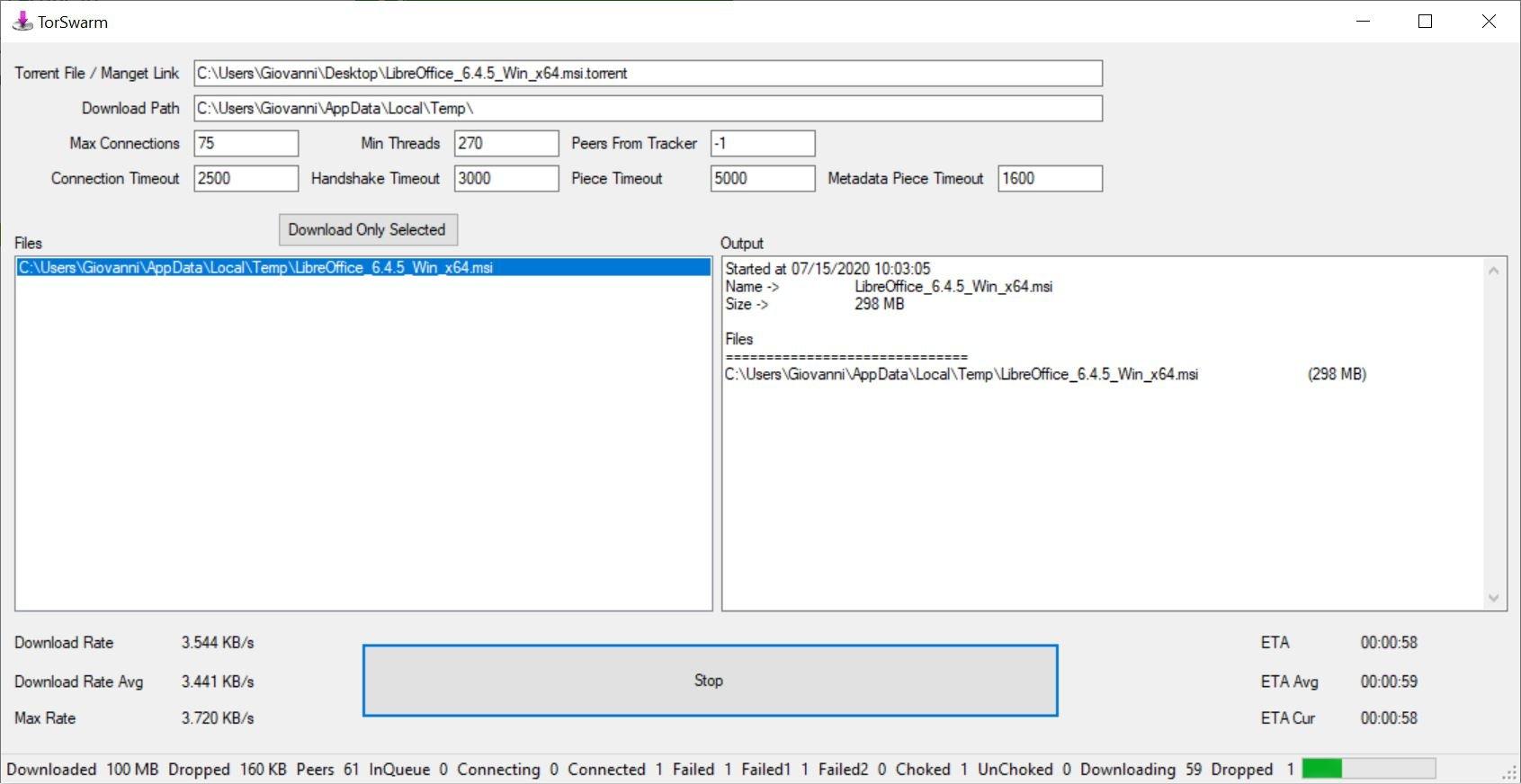 Come scaricare file torrent con TorSwarm senza installare nulla