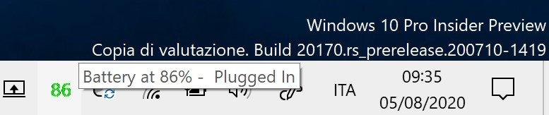 Visualizzare la percentuale della batteria in Windows 10 con Pure Battery Add On Setup