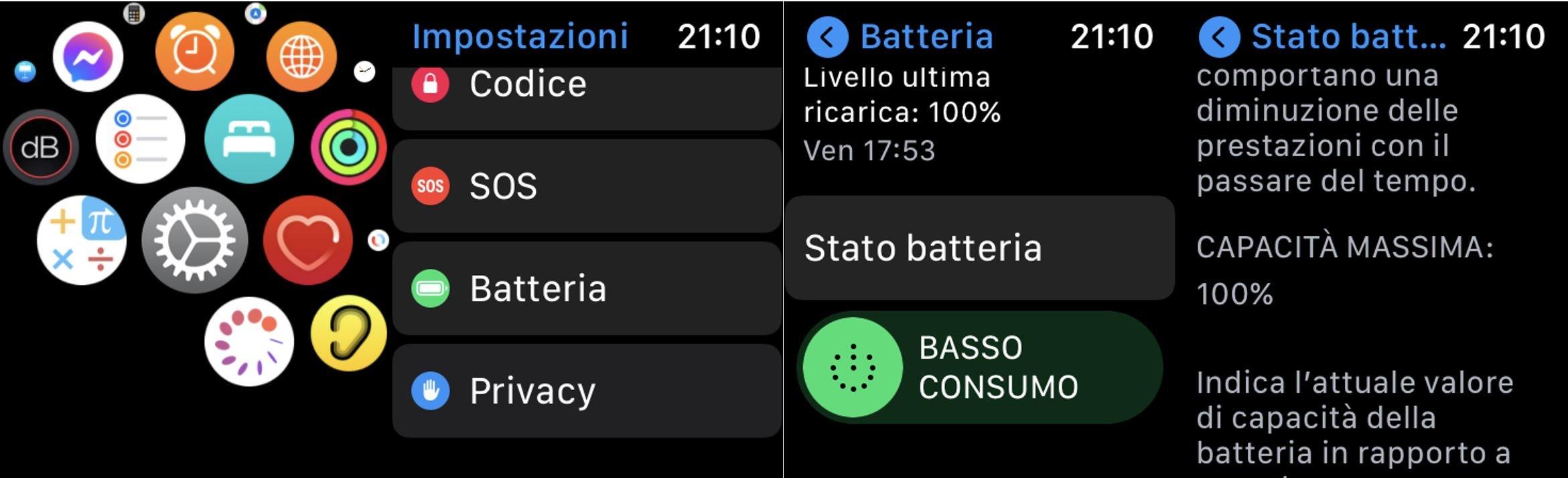 capacità batteria apple watch