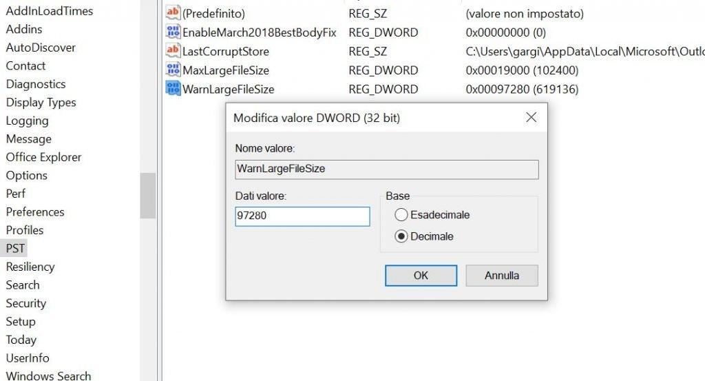 Problema Outlook, l'archivio ha raggiunto dimensioni massime