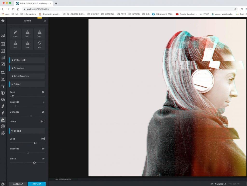 Pixlr effetto Glitch