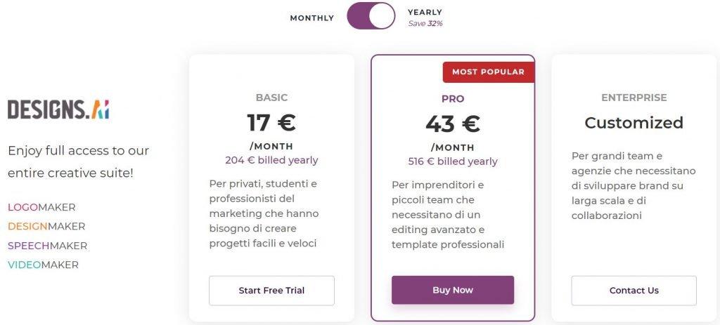 Prezzi in euro Designs.ai