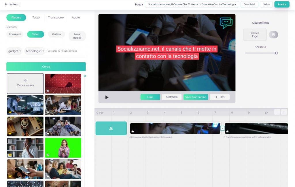 Videomaker interfaccia editing