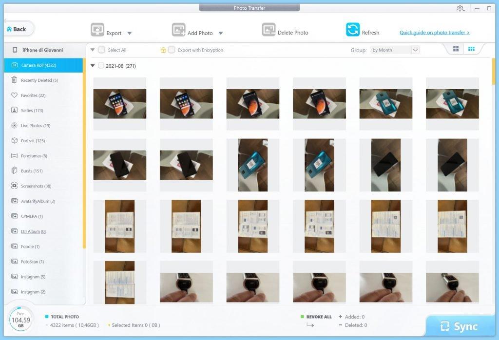 DearMob iPhone Manager trasferimento foto